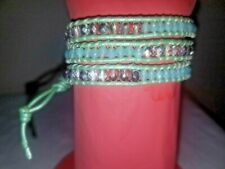Wrap Bracelet In Mint Green Handmade Beaded And Braided Leather