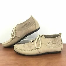 Vintage HUSH PUPPIES Leather Moccasin Loafer Lace Up Flexible Sole Women's 6.5 M