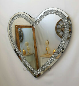 Gatsby Heart Crushed Diamond Crystal Glass Silver Bevelled Wall Mirror 70x70cm