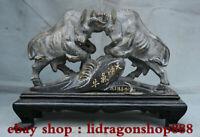 """12.2 """"pierre de Shoushan en porcelaine verte naturelle sculptée 2 bœufs de boeuf"""