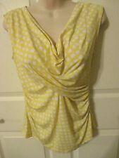 JOSEPHINE ladies Knit TOP- drape neck yellow & white - sz PL - MSRP $49.00 - NWT