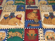 COTTON SEWING CRAFTING COTTON FABRIC FRIENDLY FELINES 1/2 YRD X 44