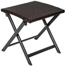Tabouret pliant en aluminium et poly rotin camping petite table d'appoint jardin