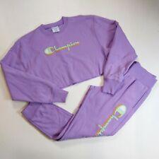 Champion Women 2p set 100%AUTHENTIC size M LS half sweater and pants purple
