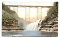 Postcard Genesee Gorge  No 23 Upper Falls and Portage Erie Railroad Bridge NY