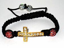Shamballa Bracelet with Cross and Crystal Balls