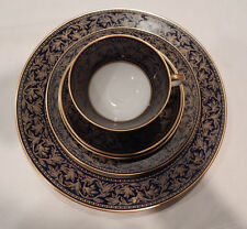 """HUTSCHENREUTHER """"WARWICK"""" COBALT 5 PIECE PLACE SETTING (S) AMAZING CONDITION"""