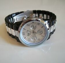 Designer black/silver finish fashion women's boyfriend watch