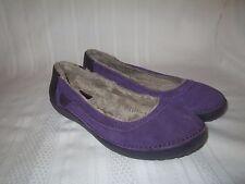 Crocs Berryessa Women Size 6 Purple Suede Lined Slip On Comfort Work Flats Shoes