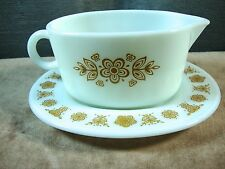 Vintage PYREX Gravy Boat and Stand Butterfly Gold Milk Glass 77-U 77-B Excellent