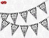 Classic Black Damask Happy Birthday Bunting Banner 15 flags by PARTY DECOR