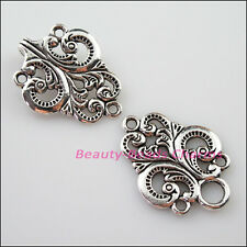 2Sets Tibetan Silver Clouds Heart Flower Bracelet Toggle Clasps Connectors