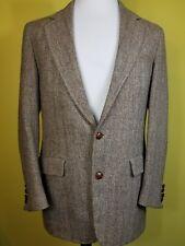 HARRIS TWEED Men's Blazer Jacket brown Wool Sz 42 R Herringbone Sport Coat VTG