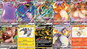 Carte Pokemon Italiane lotto di 100 CARTE con Brillanti + V, VMAX , GX, SHINY