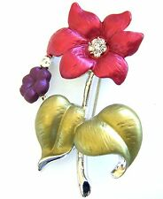 Brooches Pins Flower Clear Crystal Purple Enamel Free Shipping Christmas Gifts
