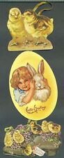 1983 Merrimack 3 Tiered EASTER GREETINGS Chicks Child White Rabbit Greeting Card
