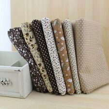 "7 Assorted Precut Cotton Fabric Quilt 19.7""x19.7"" Fat Quarter Bundle BrownSeries"