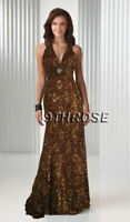 CUTTING EDGE! BEADED V-NECK FORMAL/EVENING/BALL/PROM LONG DRESS; BROWN AU12/US10