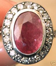FINE VINTAGE ESTATE GOLD .85CT DIAMOND 4CT RUBY RING