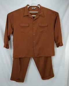 Smokey Joe's Casual Polyester 2-Piece Suit Brown/Copper Men's 5X - Waist 54x32