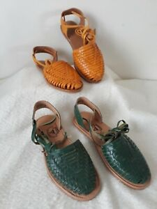 Womens Mexican Leather Huarache Sandals Sizes 7 8 9  Wrap Around Straps Flats