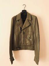 Dior Homme Hedi Slimane AW05 Olive-Green Leather Motorcyc Bomber Jacket NEW 46