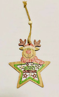 Wooden Christmas Tree Decoration Star Shape Reindeer Head Xmas Hanging Ornaments