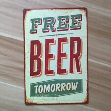 Retro Metal Tin Sign Plaque Vintage FREE BEER TOMORROW Picture Bar Man Cave