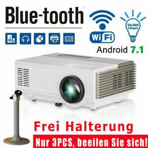 LED Android 7.1 Heimkino Beamer HD WIFI Blue-tooth Projektor Videospiel HDMI USB