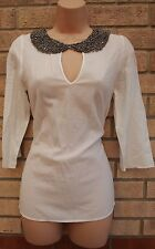 ZARA WHITE BEADED COLLAR NECK CUT OUT FIT SUMMER SEXY BLOUSE TUNIC TOP SHIRT S 8