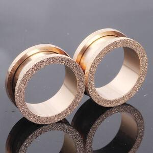 GOLD GLITTER Stainless Ear Tunnels Piercing Stretchers Plugs Jewellery TU142