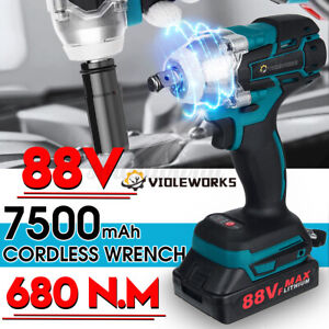 88V 680NM Electric Cordless Brushless Impact Wrench Drill Socket +1/2 Batteries