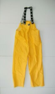 HELLY HANSEN Bright Yellow POLYVINYL RAIN BIBS Fishing Boat Sailing Pants Men M