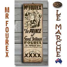 "XXXX ""Mr Fourex 1920s Ad"" Vintage Wooden Rustic Plaque / Sign (FREE POST) 🍺"
