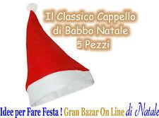 5 CAPPELLO BABBO NATALE TRADIZIONALE Panno Lenci STOCK FESTA PARTY ANIMAZIONE