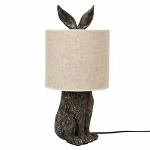 Hestia Bronzed Hidden Hare Table Lamp Side Light with Neutral Beige Lampshade