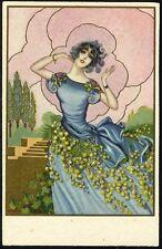Pretty ART DECO FASHION LADY Postcard c 1920's - Blue Dress in Garden degami