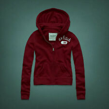 NWT ABERCROMBIE & FITCH KIDS RYLIE BURGUNDY ZIP HOODIE SWEATSHIRT SIZE L LARGE