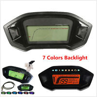 12V Motorcycle LCD Digital Speedometer Odometer Tachometer KMH Gauge Backlight