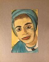 Georg Schott *1906 Portrait Frau mit Kopftuch 60er Jahre Sixties Midcentury Art