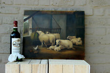 Vintage Flemish Oil Canvas Sheep farm chicken animal painting