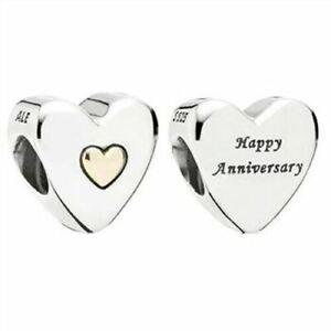 NEW Genuine Pandora Happy Anniversary Charm 791290 14k Gold Silver Love Heart