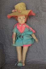 "Antique Lenci - Pouty Girl 22½"" Felt - All Original Pouty Original Clothes Italy"