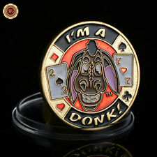WR I'm A Donk Poker Card Guard Gold Plated Metal Coin Casino Chip Gifts For Him