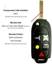 Keyless remote entry Volvo Keyfob switchblade XC90 XC70 S60 S80 uncut key phob