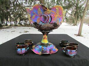 Dugan MANY FRUITS ANTIQUE CARNIVAL ART GLASS COMPLETE 8 PC. PUNCH SET~PURPLE!