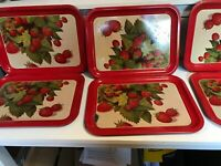 Lot of 6  Vintage Metal Serving Tray STRAWBERRIES Strawberry Design Lap MCM