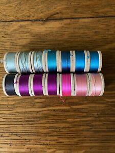 Belding Corticelli Buttonhole Pure Silk Twist Thread 14 Spools Blue/Pink/Purple