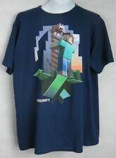 Minecraft Boys T-Shirt New Officially Licensed Blue Steve Wolf Size XL
