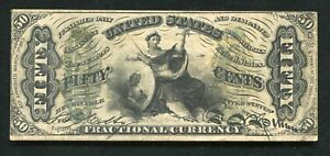 """FR. 1358 50 FIFTY CENTS THIRD ISSUE FRACTIONAL CURRENCY NOTE """"JUSTICE"""" VERY FINE"""